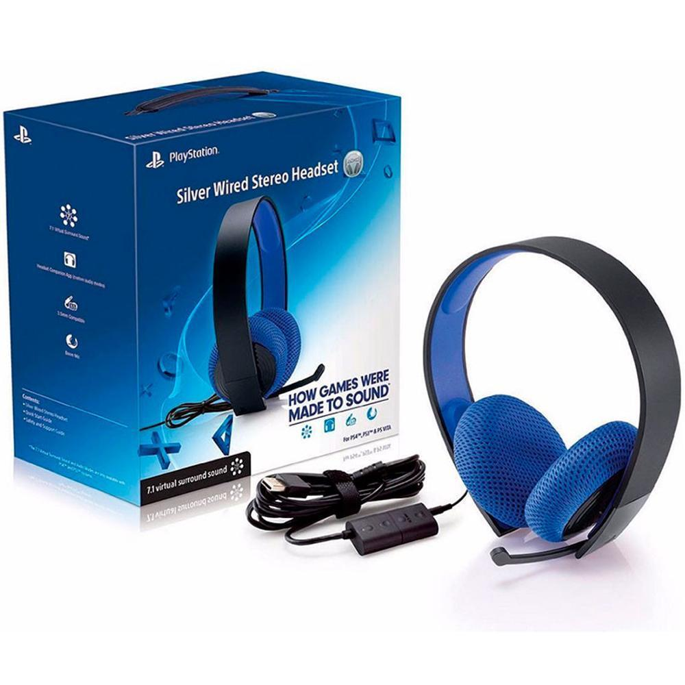 Headset Wired Stereo Silver 7.1 Com Fio Ps4/Ps3 - Sony