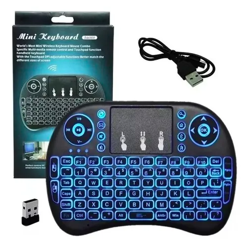 Mini Teclado Keyboard Wireless Usb Touchpad Com Led 3 Cores