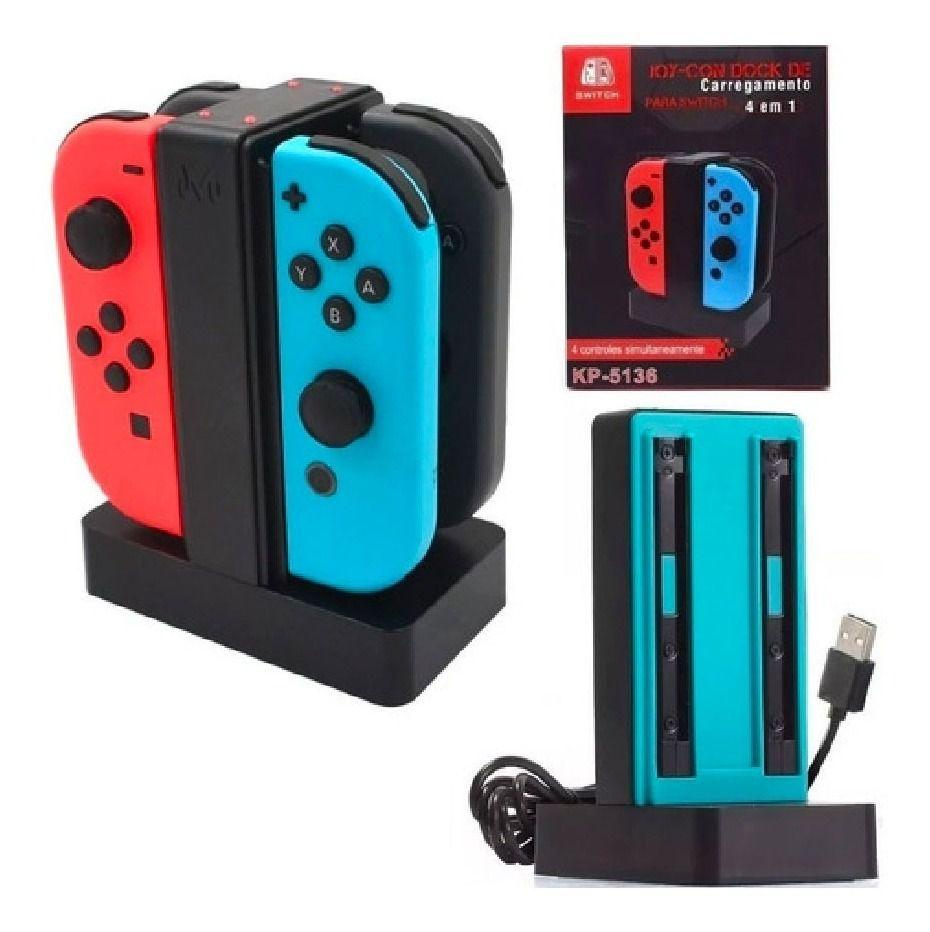 Base Carregadora KP-5136 para Joy-Con Nintendo Switch P/ 4 Controles